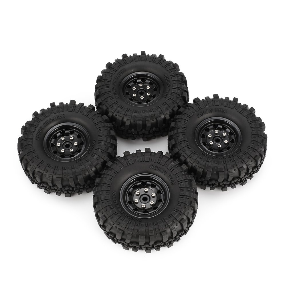 4Pcs AX-4020 1.9 Inch 110mm Rubber Tires Tire with Metal Wheel Rim Set for 1/10 Traxxas TRX-4 SCX10 RC4 D90 RC Crawler Car Accs mxfans rc 1 10 2 2 crawler car inflatable tires black alloy beadlock pack of 4
