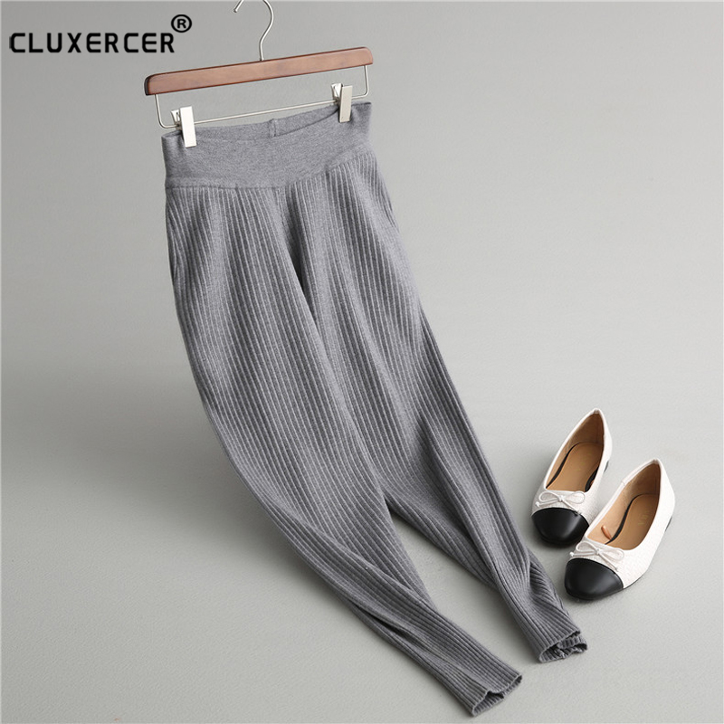 Sarouel pour femme taille élastique Calca Femininawomen vêtements taille haute tricot pantalon large