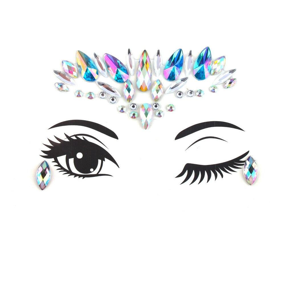 2018 Fashion Boho Crystal Sticker for Women Girls Tribal Style Face Eye Jewelry  Stickers Eyebrow Body Jewellery