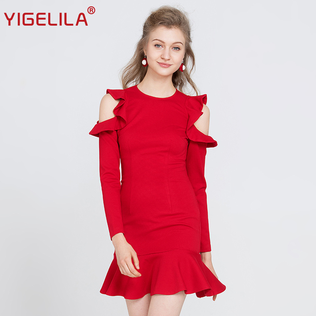 YIGELILA Fashion Women Red Ruffles Mermaid Dress Autumn O-neck Full Sleeve Hollow Out Solid Bodycon Knee Length Dress 63246
