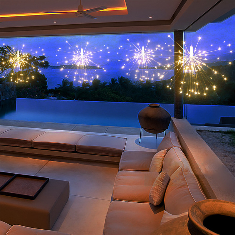 120Led 200 Led Solar Lamp Starburst String Light Copper Wire Solar Panel Powered Fairy DIY Firework Xmas Explosion Wedding Light (10)