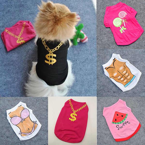 מצחיק כותנה לבגדי כלבי כלב קיץ לנשימה חולצה אפוד גור ביקיני פרח הדפסת בגדי גדול