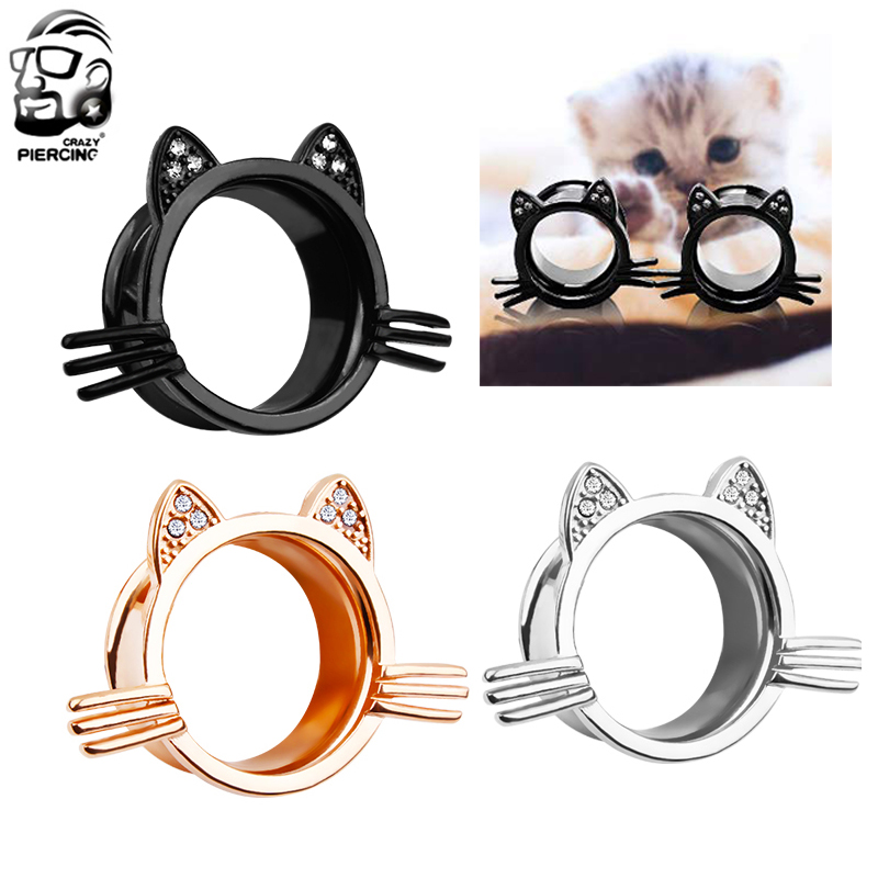 Cat Screw Ear Gauge Flesh Tunnels Plugs Stretchers Expander Piercings EarringafZ