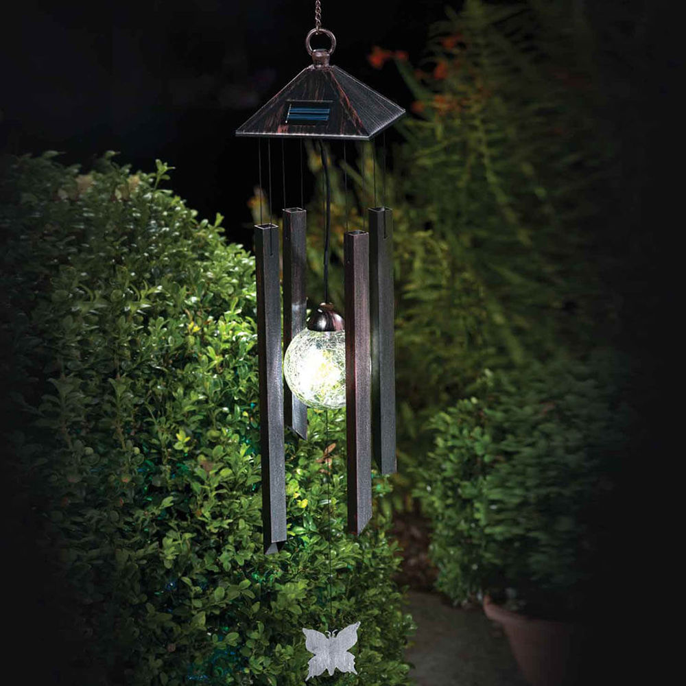 Colour Changing Solar Wind Chime Light Lamp Lantern Outdoor Garden Patio