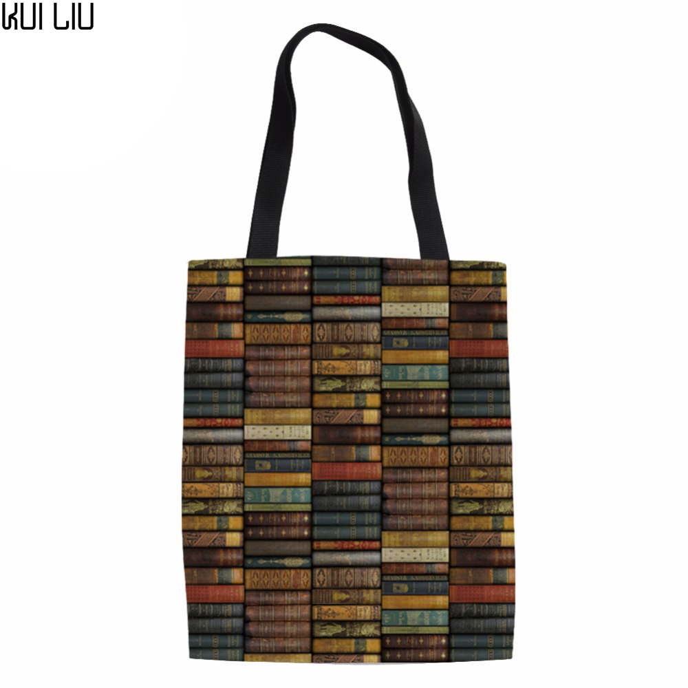 Canvas Environmental Protection Mom Shopping Bag Library Printing Fashion Women 39 s Handbags Tote Bag Books Shoulder Bags in Shopping Bags from Luggage amp Bags