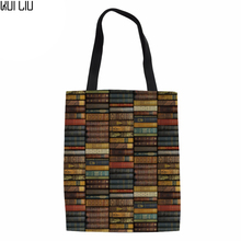 Canvas Environmental Protection Mom Shopping Bag Library Printing Fashion Women's Handbags Tote Bag Books Shoulder Bags cute boston terrier tote bags light color double sided printing canvas animals tote bag art dog designed shopping handle bags