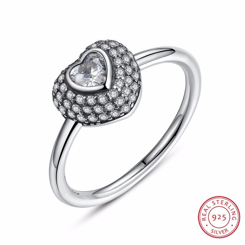 Fashion 925 Sterling Silver In My Heart Pave Ring with Clear Dazzling Cubic Zirconia  for Women Engagement Jewelry PA7168