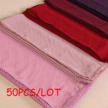 50PCS/LOT Fashion women bubble chiffon lace edges scarf muslim hijab long