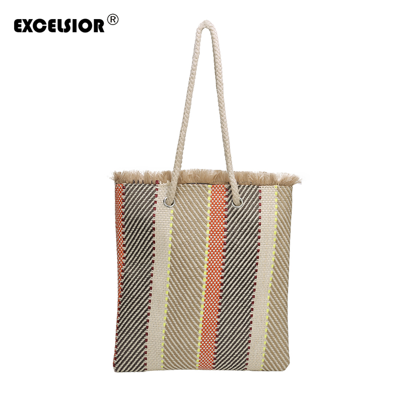 EXCELSIOR 2018 New Women Woven Handbag Fashion Canvas Patchwork Bag Literary Style Shoulder Strap Dual-use Handbag G1819