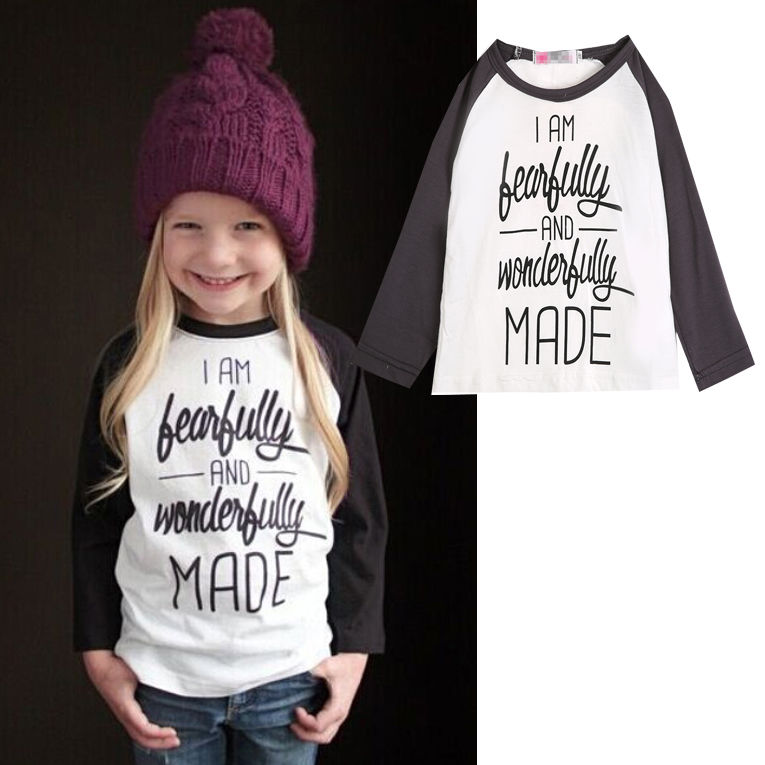 2015 Baby Girls Letter Print T-Shirt Toddler Long Sleeve tops Blouse cotton kids t shirt  girls clothing