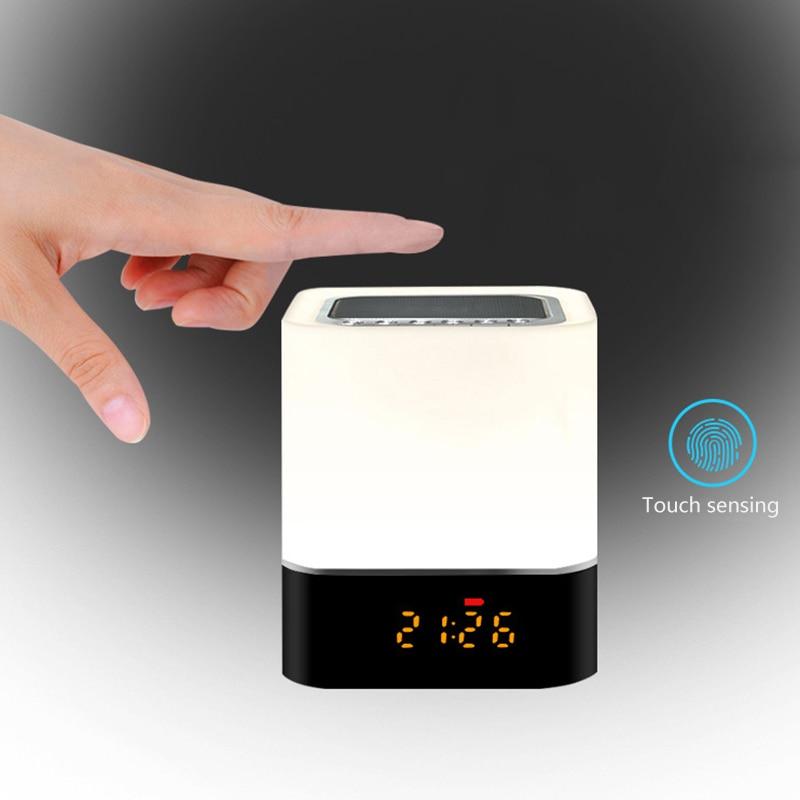Night Light Touching Sensor Bluetooth Speaker Color Changing Digital Calendar Alarm Clock Speaker SP99 in Portable Speakers from Consumer Electronics
