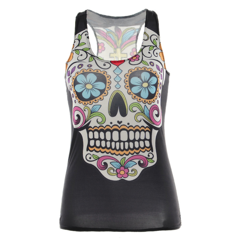 2017 new Flower skull print girls tank tops sleeveless O-neck summer dress vogue women casual top tees free shipping wholesale