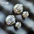 Circel Crystal double Pearl ball Stud earrings double sided earrings Pierce Earrings Stud