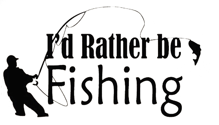 Pattern Wall Sticker Decal Quote Vinyl Rather be Fishing