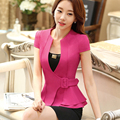 2016 Fashion work wear Jacket Women Foldable Short Sleeve V-neck Coat Candy Color feminino Blazer ladies Vogue casual office top