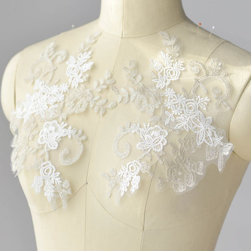 2 Pieces Embroidered Floral Lace Neckline Neck Collars Trims Clothes Sewing Applique 35X9 5cm For 2019 in Lace from Home Garden