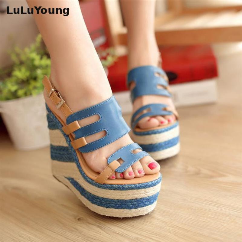 3 colors Women wedges 13.5cm high heels sandals striped Straw shoes Casual platform shoes open toe sy-1118