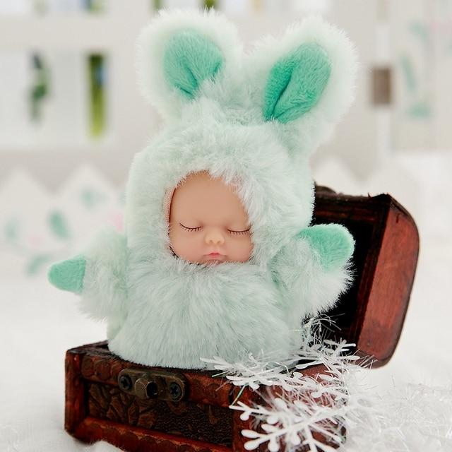Mini 12cm kawaii sleep baby dolls plush toys Bjd bebe bear rabbit doll Key chain Pendant for kids girl Christmas birthday gift  4