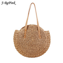 Hand-woven Round Women's Handbag Shoulder Bag Bohemian Summer Beach Straw Travel Bag Shopping Tote Female Wicker Bags woman s hand woven round shoulder bag fashion handbag bohemian summer straw beach bag travel shopping female tote chain bags