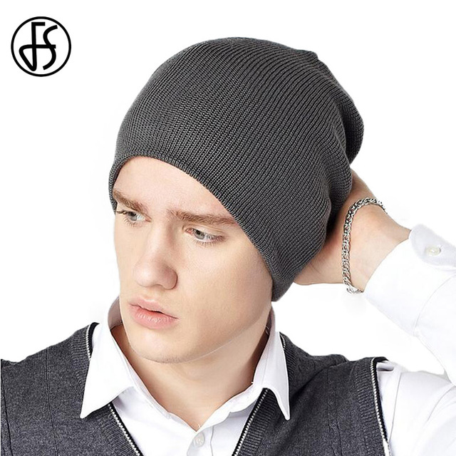e6acb589dac FS Winter Hat Men Fashion Gray Navy Blue Knitted Skullies Beanies For Man  Warm Cap Hats Soft Cap