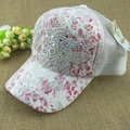 10 Colors Of Summer Outdoor Shading Cap Flower Pattern Rhinestone Pierced Mesh Baseball Cap Female Sports Cap Free Shipping 0001