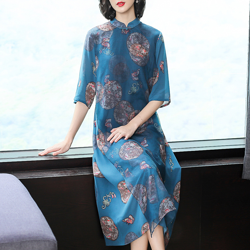 Blue Chinese Flowing Silk Dress High Quality Plus Size Big Women 2019 Summer Print Robe Elegant Vintage Midi Dresses Clothing