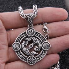 Прямая поставка из нержавеющей стали Viking 24 Руна кулон с вороном ожерелье norse odin колье с кулоном в стиле викингов подарок для мужчин