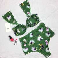 VWIWV 2017 Green Floral Bikini Split Swimsuit High Waits Swimwear Bathing Suits Push Up Bikini Hot