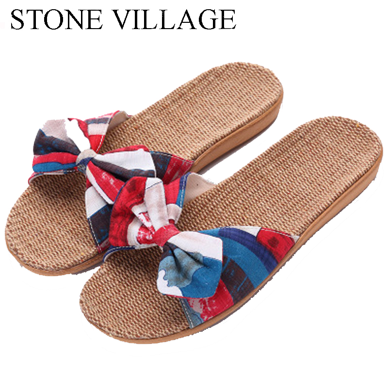 STONE VILLAGE 2018 Summer Home Slippers Shoes New Linen Slippers Non-Slip Butterfly-Knot Cool Slippers Women Indoor Flip Flops
