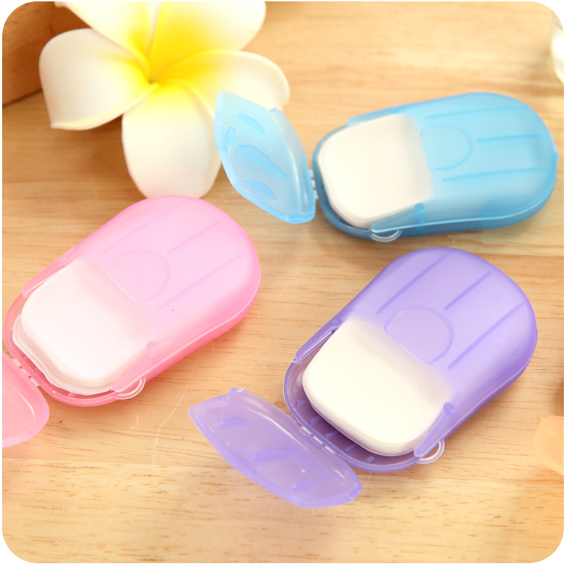 Portable disposable paper soap soap soap bath sheet of 20 pieces of paper travel supplies wash soap tablets
