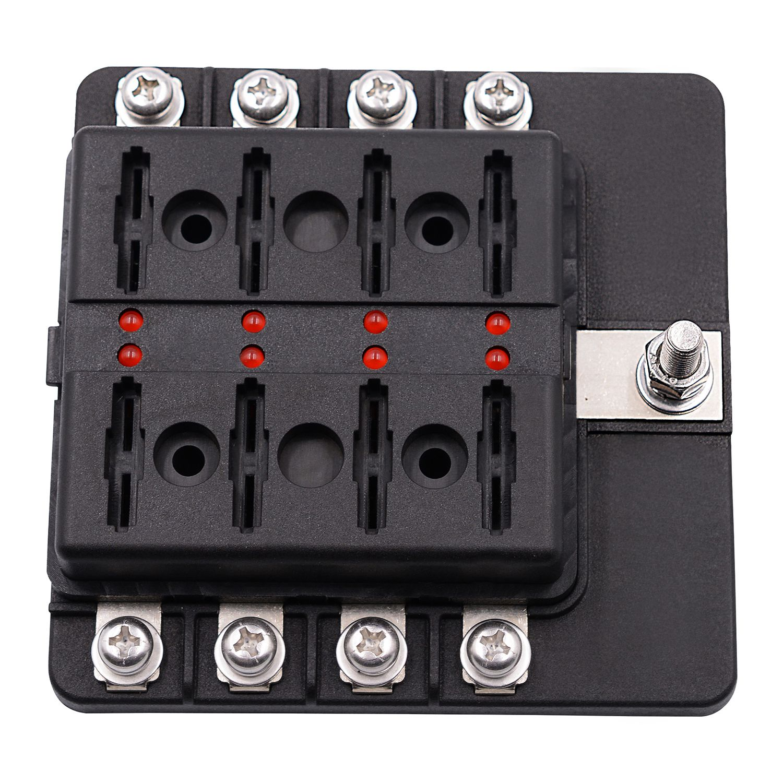8 way blade fuse box holder with led light damp proof block marine car boat [ 1500 x 1500 Pixel ]