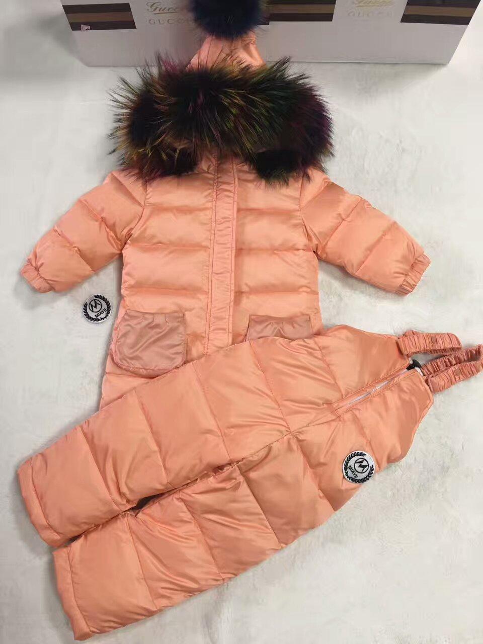 2016 Winter Jacket Children down coat child down jackets& PANT duck down Fur hooded snowsuit coats children Suit set outerwear