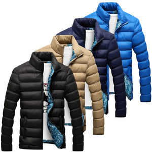 Image 1 - Мужская зимняя куртка с хлопковой подкладкой, толстая приталенная стеганая парка с длинными рукавами, теплая верхняя одежда, 2020
