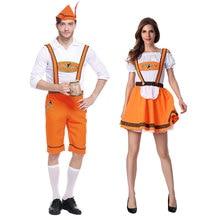 Halloween Costumes Oktoberfest Beer Maid Waiter Costume Girl Bavarian Guy Lederhosen Fantasia Adulto Clothing for Women Men