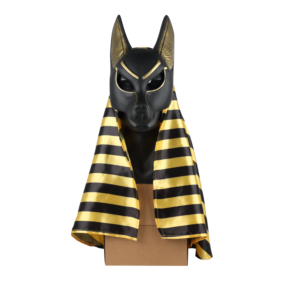 Egyptian Anubis Cosplay Face Mask With Headscarf PVC Canis spp Wolf Head Jackal Animal Masquerade Party Halloween Fancy Dress
