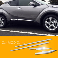 For Toyota C HR 2016 2017 Stainless Steel Side Car Body Molding Cover Decorative Trim 4pcs