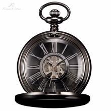 KS Negro Gear Romana Analógica Esqueleto Transparente Reloj de Bolsillo Mecánico Del Steampunk Colgante Joyería de La Cadena de la Mano del Viento Watch/KSP035