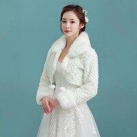 NZUK White Short Wedding Jacket Wraps with Long Sleeves for Bridal Winter Formal Dresses Cape Warm Cloaks White Faux Fur Bolero