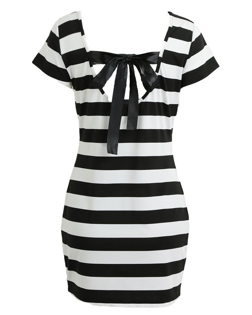 #Women #K-pop #Dress #Korean Cut Out Tie Bow Backless #Striped #Summer #Dress #Sexy #Dress #girl #grl #fashion #boygrl 3