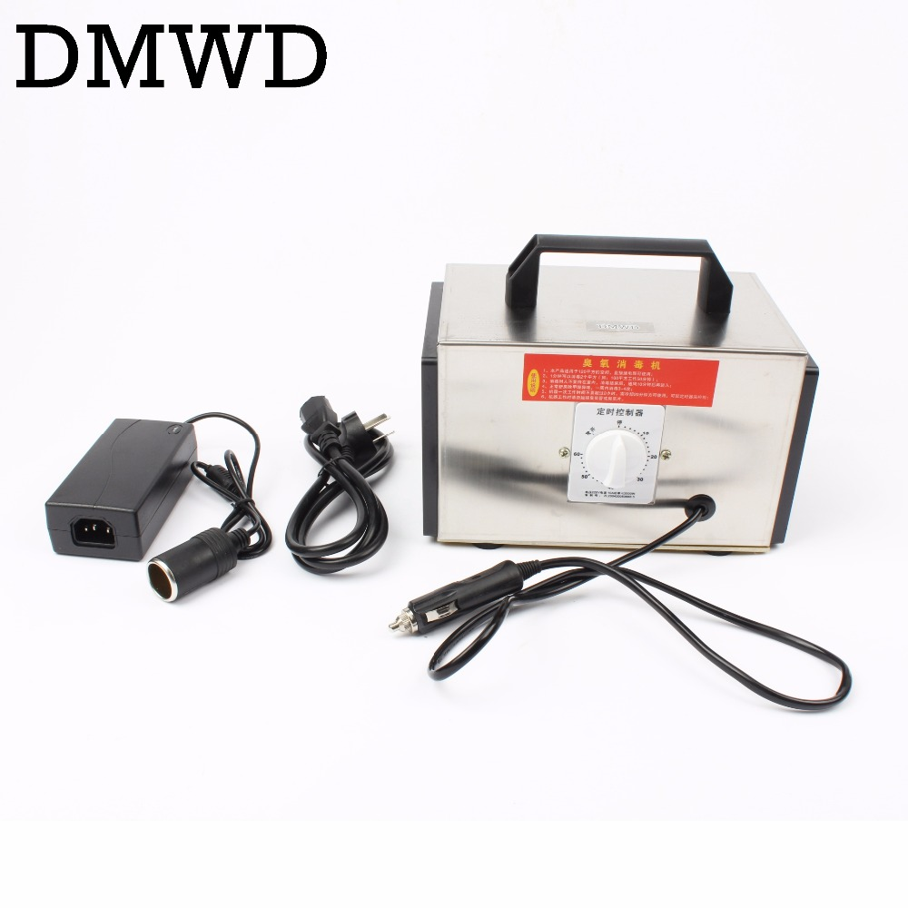 DMWD 12V 10g Ozone Generator Car Purifier AUTO Air Cleaner home ozone disinfection Sterilizer Portable Ozoner With Timing Switch ozone generator 110v 10g double ceramic plate integrated ozone generator sterilizer air purifier ozonizer for home tools