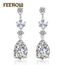 FEEHOW Elegant Water Drop Zirconia Crystal Long Earrings Luxury Wedding Jewerly For Brides Drop Earrings FWEP4004 недорого