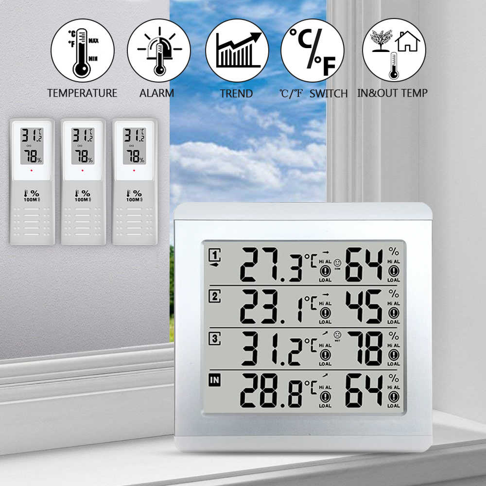 Weather Station Thermometer C/F Value Display Alarm Temperature Meter Station tester W/ 3 Outdoor Indoor Wireless Senor