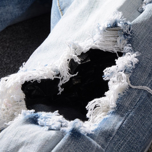 Image 4 - Sokotoo גברים של דקל קוקוס מודפס בצבע ripped ג ינס Slim fit חורים במצוקה למתוח ג ינס מכנסיים מכנסיים