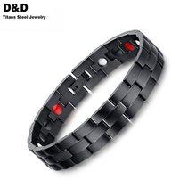 Men's Black Bracelet Bangle Magnetic Health Chain Men Charm Jewelry Stainless Steel Bracelet For Men SBRM-012