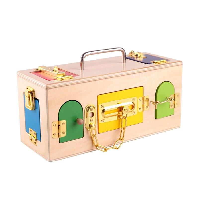 Éducation préscolaire apprentissage quotidien débloquer jouet boîte de verrouillage aide pédagogique jouet contreplaqué éducation précoce jouets éducatifs pour enfants à