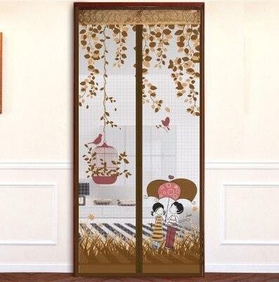 Coffee Rain Romance Decorative Kitchen Kids Room Divider Sun Shade Curtains  Doors Curtain Magnetic Soft Screen