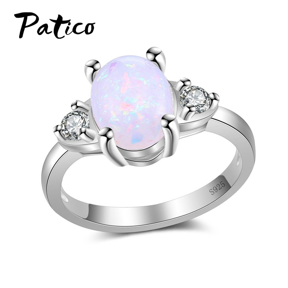 PATICO Top Quality Vintage White Oval Opal Stone Rings For Women Antique 925 Sterling Silver Color Fashion Jewelry Ring Size