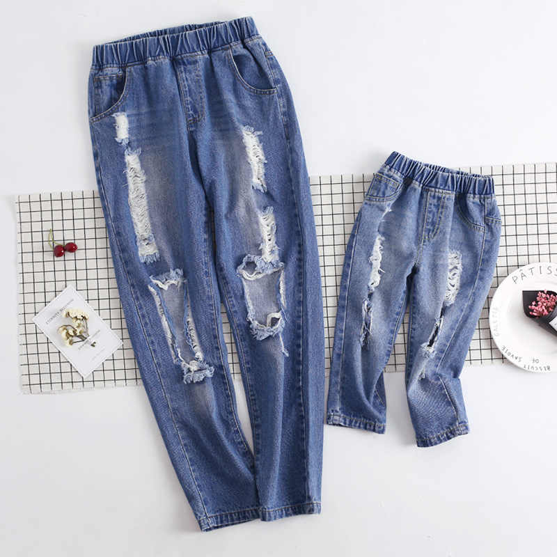 957cbcdbebe Boys Jeans Mother and Daughter Clothes Leggings Mom and Daughter Matching  Pants Family Look Family Matching