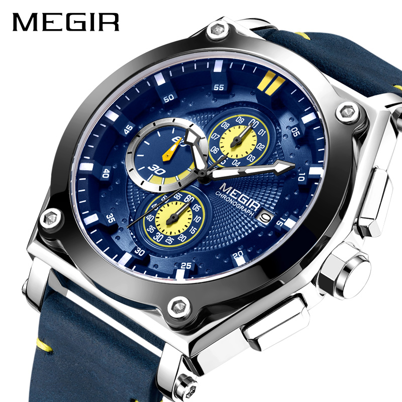 MEGIR Blue Quartz Men Watches Top Brand Leather Strap Chronograph Sport Wrist Watch Men Clock Relogio Masculino Reloj Hombre reloj hombre pagani design sport leather strap watches men top brand luxury multifunction quartz watches clock relogio masculino