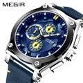 MEGIR relojes de cuarzo azul para Hombre, correa de cuero de marca superior, Reloj de pulsera deportivo, Reloj para Hombre, Reloj Masculino Reloj